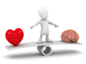 3d Little man balances heart and mind